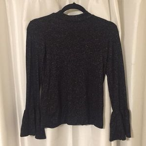 Black/grey mock neck shirt with bell sleeves!